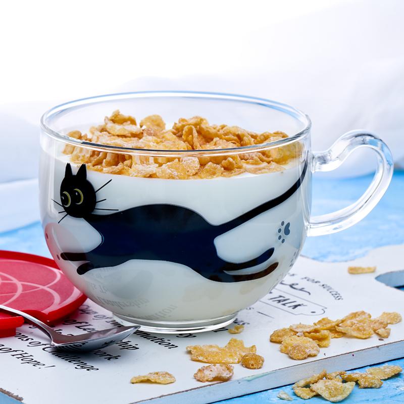 可愛小貓玻璃杯牛奶杯果汁杯咖啡杯茶杯700ml耐熱微波麥片早餐杯