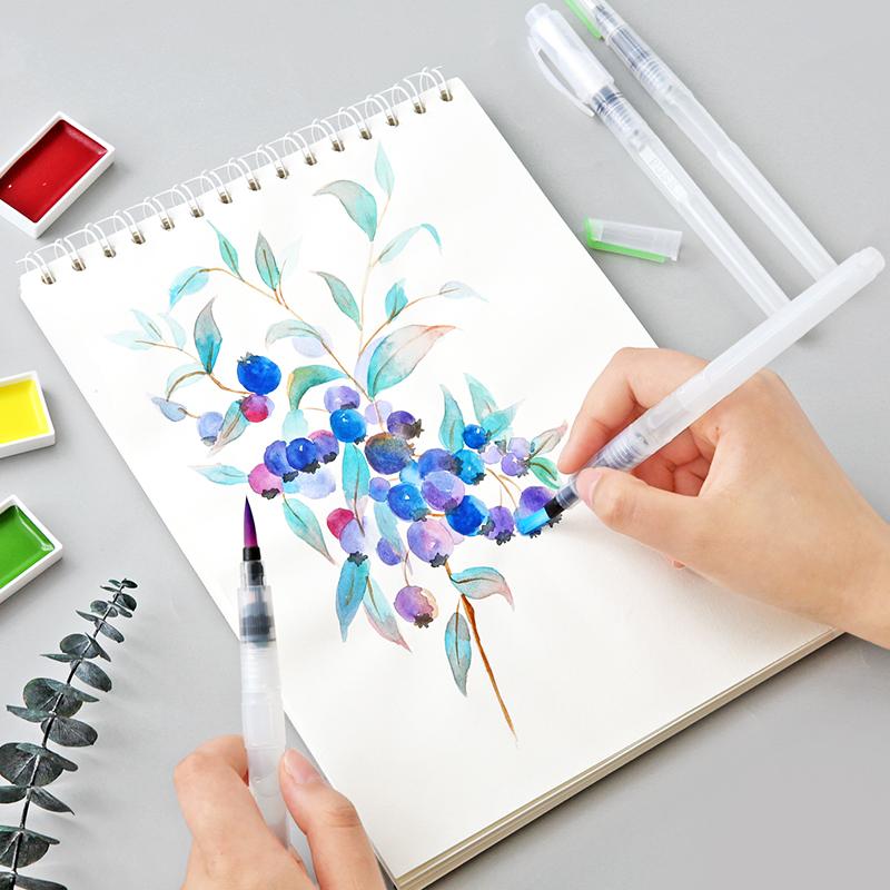 云木杂货 自来水笔套装固体颜料水彩毛笔画笔储水笔学生用注水笔