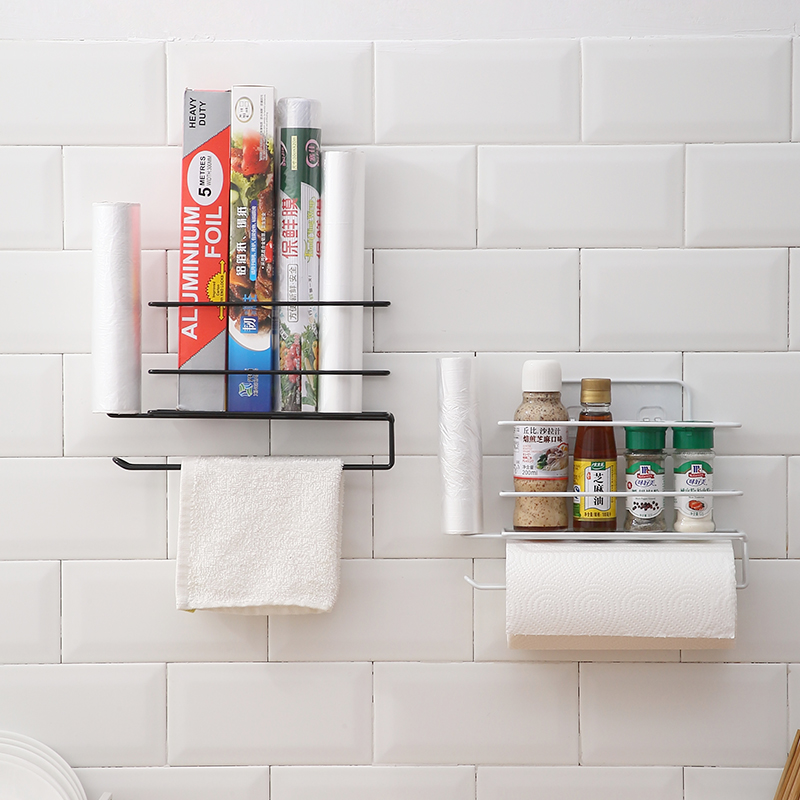 保鲜膜袋收纳架免打孔冰箱侧壁挂厨房用品家用大全纸巾卷纸置物架