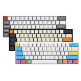 RK61蓝牙无线机械键盘粉笔大碳PBT侧刻键帽正刻王自如61键迷你小键盘青轴红轴茶轴苹果MAC平板手机笔记本电脑