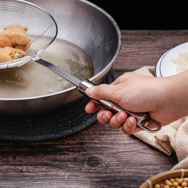 不锈钢火锅过滤网漏勺家用厨房大号笊篱小漏网筛捞饺子捞面油勺