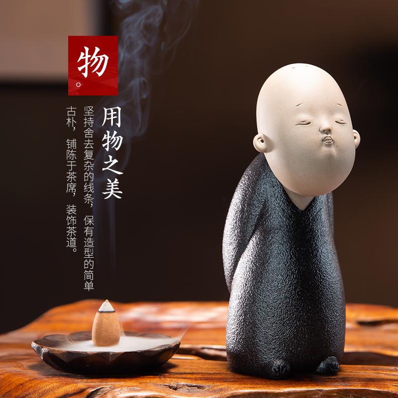 小和尚茶盘摆件茶宠可养个性陶瓷创意禅意迷你茶宝功夫茶具茶玩