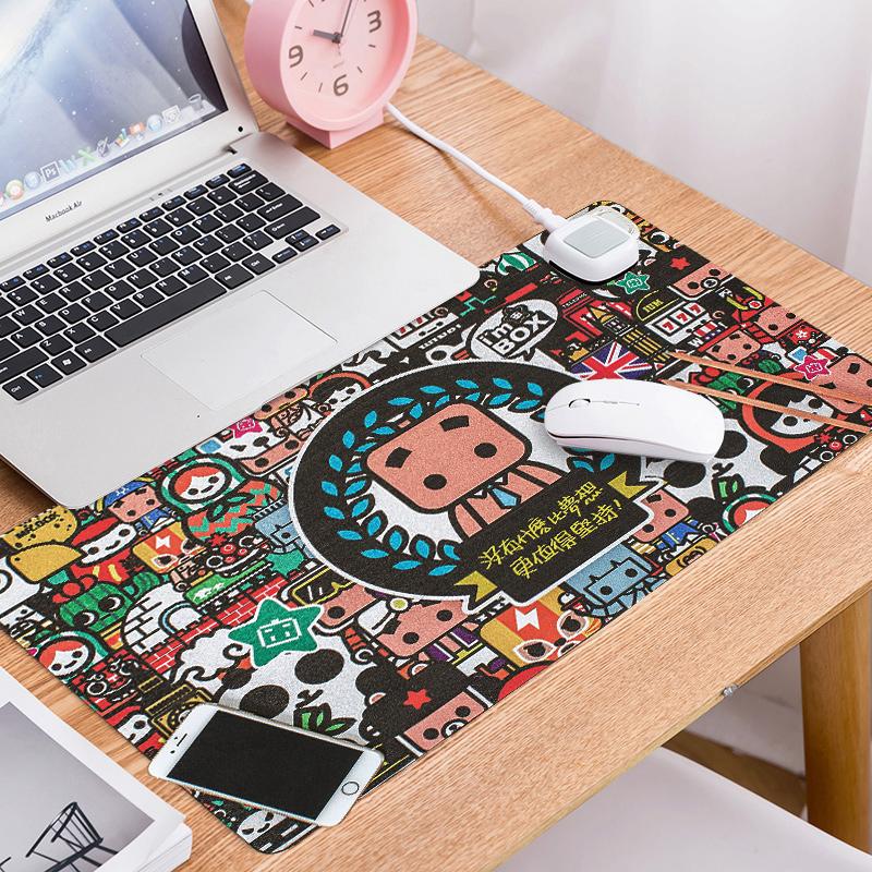 加热鼠标垫暖手发热桌垫冬天女电热电暖超大冬季桌面保暖写字热手垫键盘电脑台式书桌大号非USB暖手套暖手宝