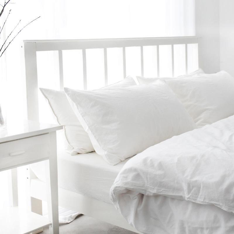 纯棉简约现代北欧全棉纯色水洗棉麻灰色床单床上四件套三件套用品