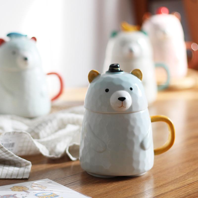 可愛小熊陶瓷杯子女學生韓版帶蓋卡通馬克杯情侶咖啡杯創意喝水杯