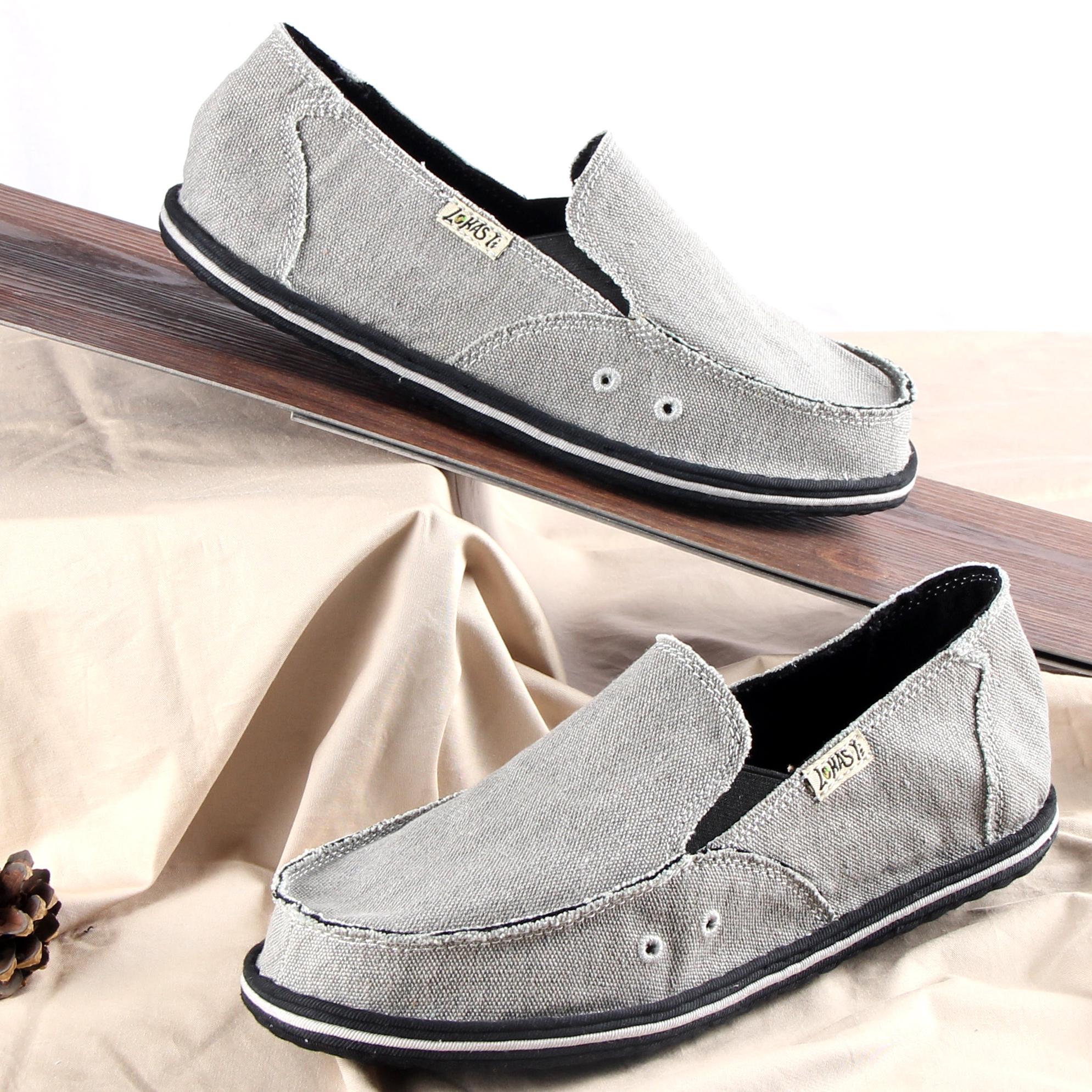 樂和 男士老北京布鞋透氣休閒舒適手工千層底布鞋 一腳蹬駕車鞋
