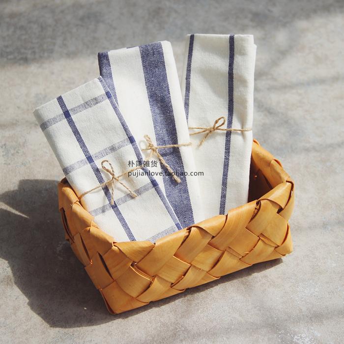 朴简 日式条纹格子餐垫餐巾 盖桌布 隔热垫茶巾拍摄背景布2017