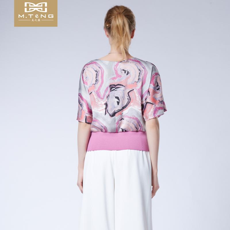 美之藤 2017夏季新款短袖宽松雪纺衫印花时尚短款上衣女DMU2C01