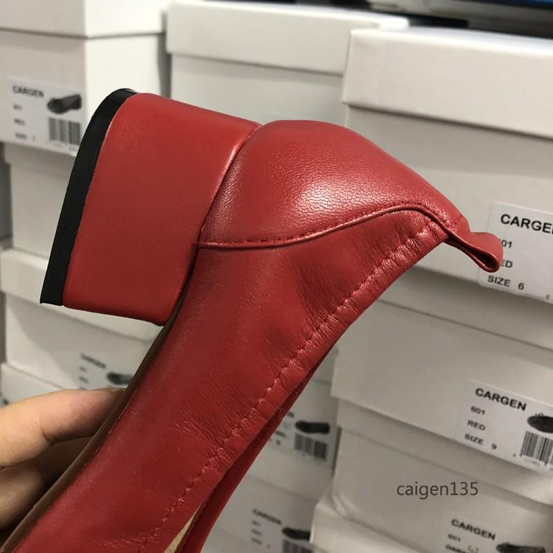 方头复古舒适奶奶鞋松紧套脚中跟女鞋 出口美国新款粗跟真皮单鞋