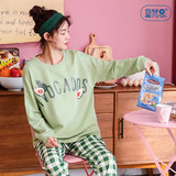 Pure cotton pajamas women spring and autumn long-sleeved home service cartoon cute summer thin section cotton large size outer wear suit summer
