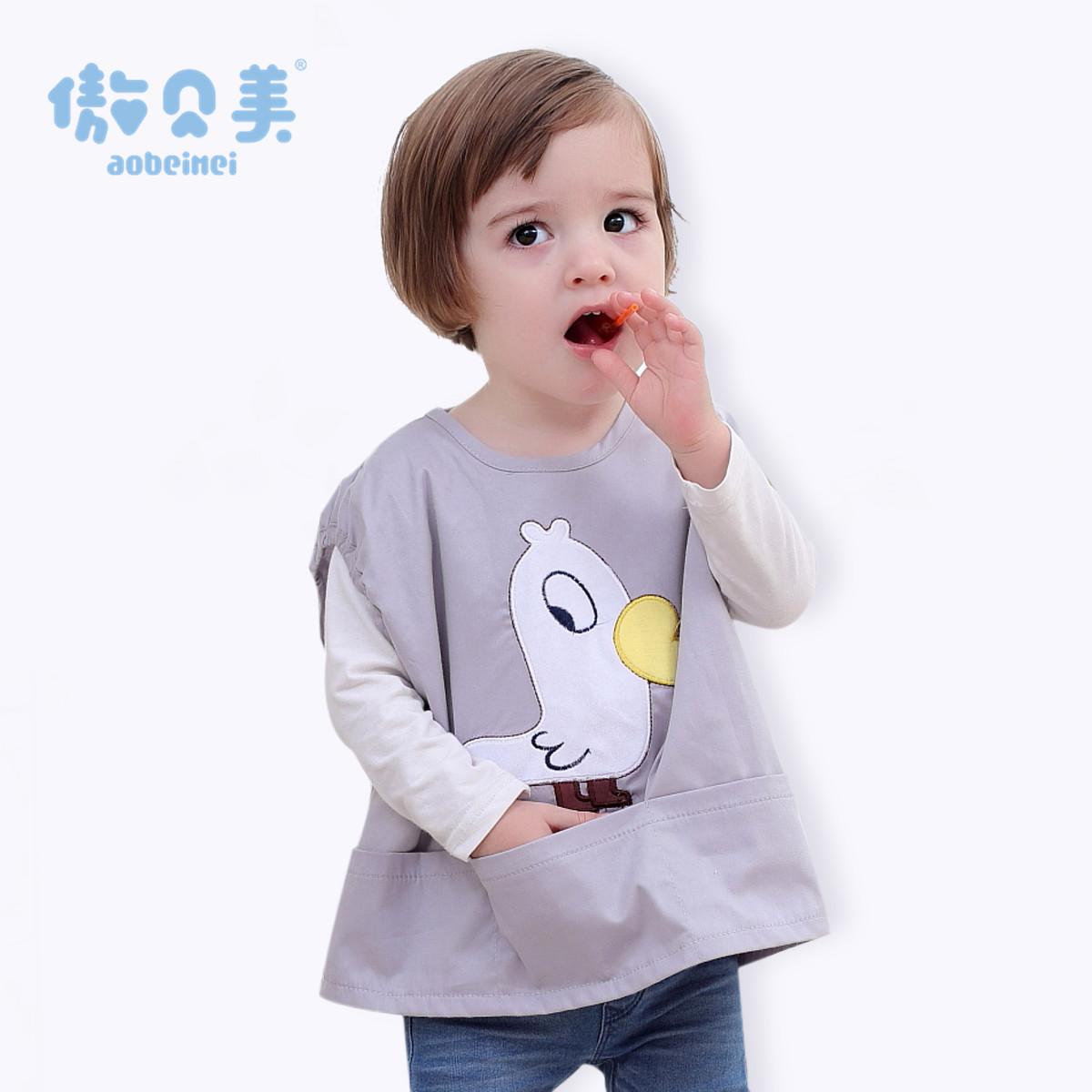 傲贝美宝宝罩衣儿童四季薄款防水纯棉无袖围兜衣服婴幼儿吃饭罩衫