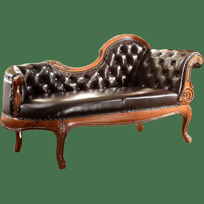 鹏叶家具 美式实木贵妃椅 欧式真皮沙发 新古典贵妃榻 美人榻躺椅