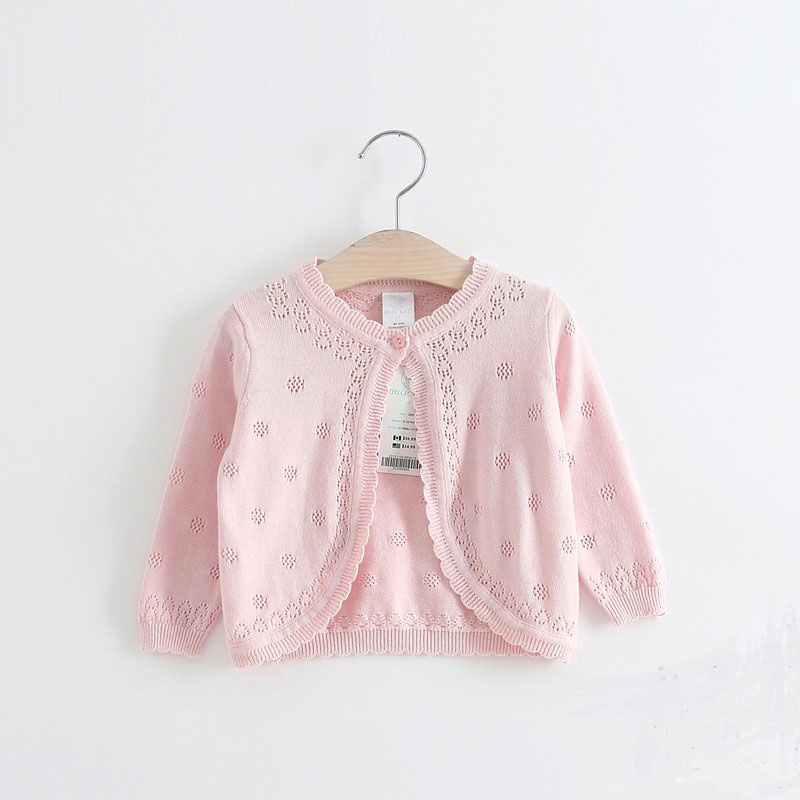 年春夏款婴儿纯棉披肩毛衣外套空调衫 2018 女宝宝镂空薄款针织开衫