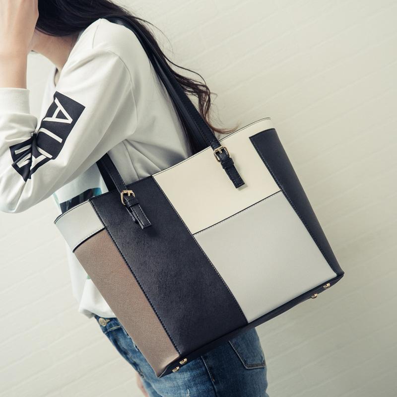 包包2018新款女包日韩版时尚简约托特包休闲手提包撞色单肩包大包