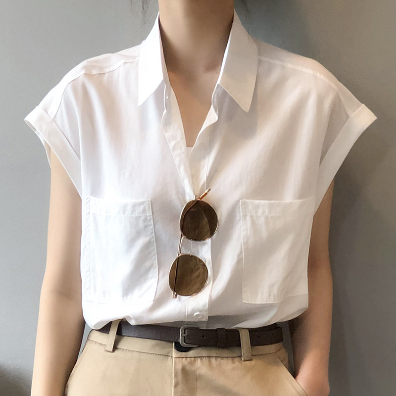 白色衬衫女夏季短袖设计感小众轻熟薄款宽松复古港味无袖法式上衣