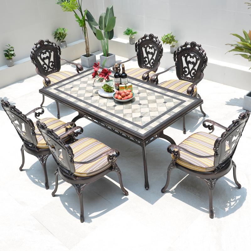 户外铸铝桌椅室外庭院阳台休闲欧式桌椅别墅露天院子花园桌椅组合高清大图