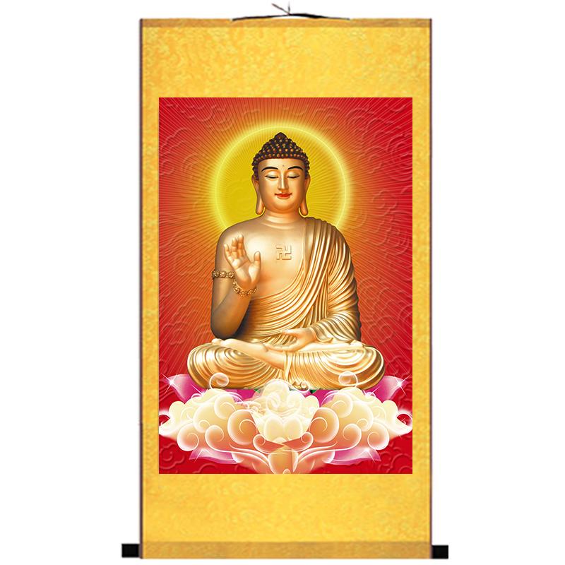 释迦摩尼佛卷轴画像丝绸画佛堂挂画阿弥陀佛画像佛像装饰画高清