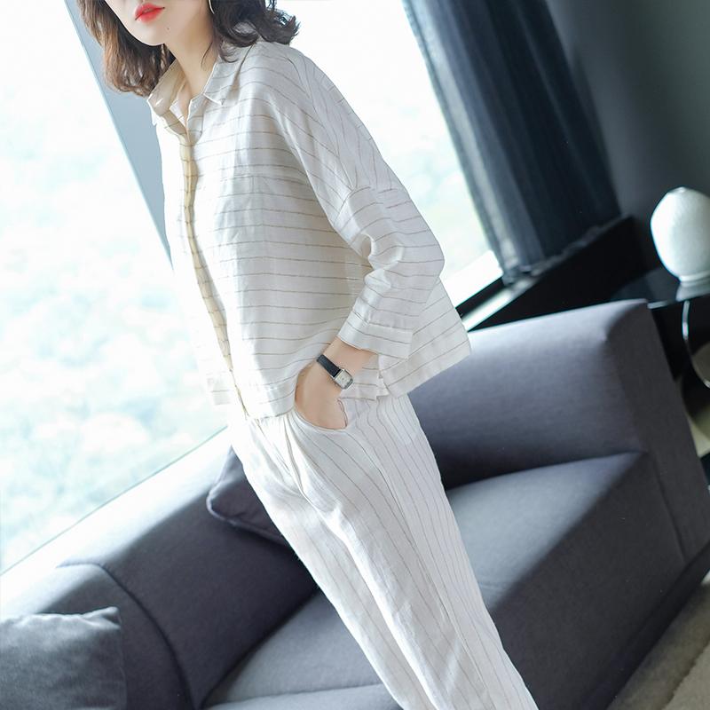 妃之影2019秋季新款亚麻条纹宽松显瘦两件套时尚通勤休闲套装女