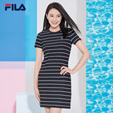 FILA Fila high round with the same paragraph Women's dress 2019 summer new striped elegant midi dress