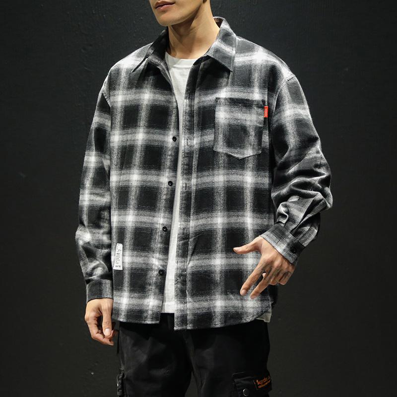 衬衣2020夏季格子衬衫男士加肥大码休闲长袖寸衫韩版潮流