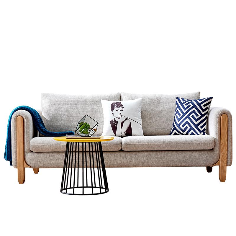 北欧风格布艺沙发小户型客厅现代简约实木可拆洗时尚小沙发三人位