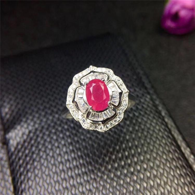 时尚新品热销 女 活口 粉色宝石戒指 金镶嵌天然红宝石 18K 银镀 925