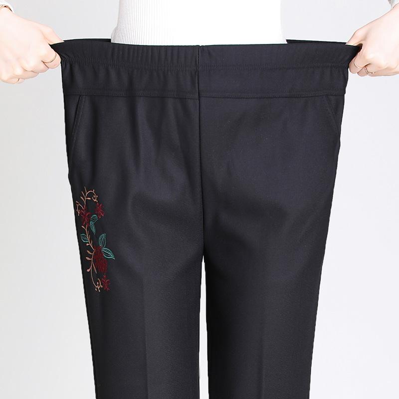 中老年女裤春秋装长裤宽松直筒奶奶绣花裤妈妈裤子松紧高腰休闲裤