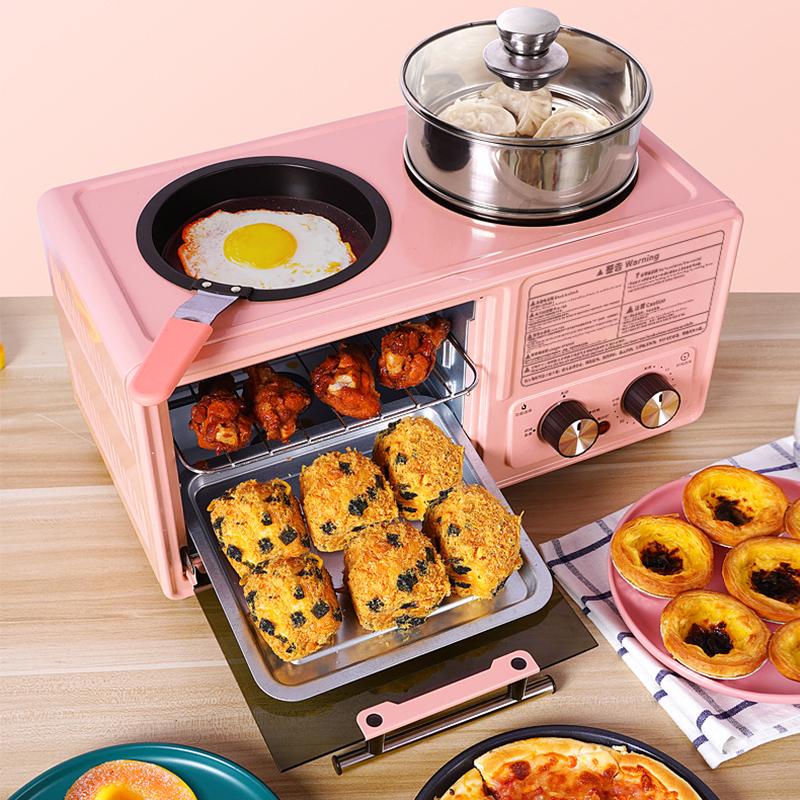 厨房电器家用早餐机多功能四合一小烤箱三明治机神器抖音蒸煮煎烤主图