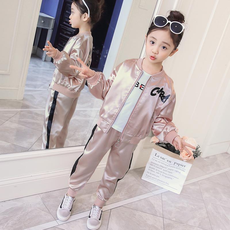 女童套装2018新款中大童春秋季韩版时尚外套儿童棒球服洋气两件套