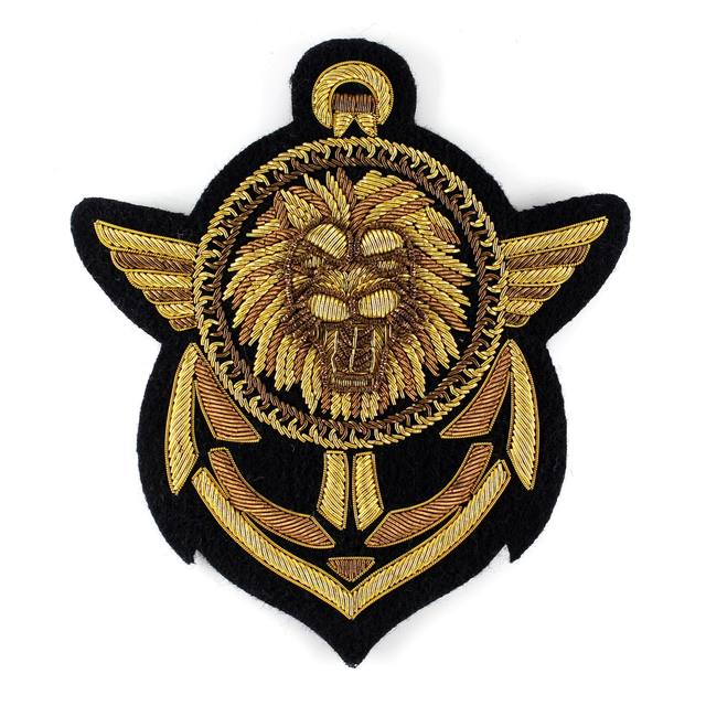French design brand imported metal wire hand embroidered lion head anchor badge Balmain embroidered label