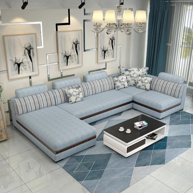 布藝沙發三人位組合客廳大小戶型貴妃冬夏兩用帶藤板可拆洗布沙發