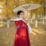 Planting flowers and warm wine original Chinese clothing female plus velvet thick winter cloak cloak spot long section of Chinese style