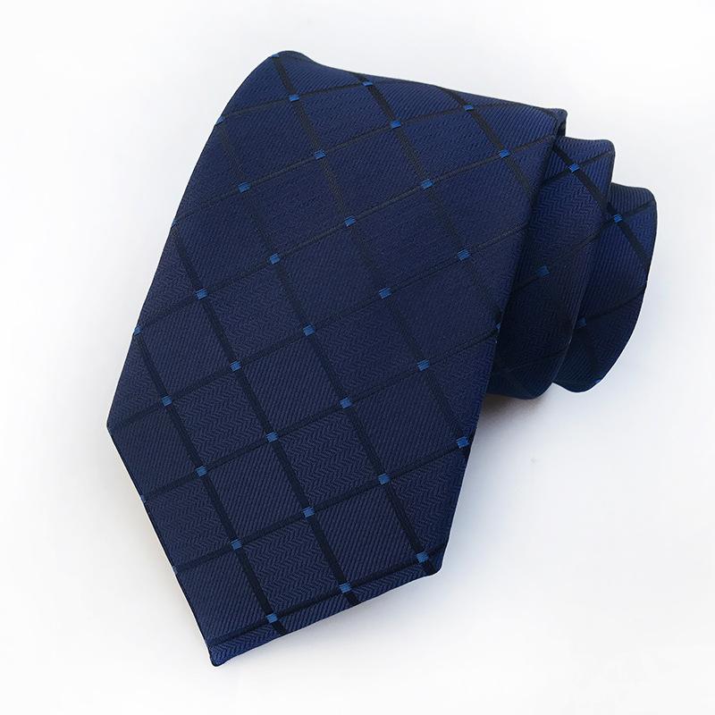 正装商务年轻时尚潮男士宴会工作上班职员8CM宽版蓝色格子领带呔