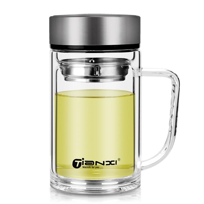 双层玻璃杯带把办公杯家用喝水杯男大容量泡茶杯带盖个人专用杯子主图