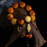Natural Genuine Chicken Oil Yellow Old Honey Wax Amber Bucket Bead Bracelet No Optimized Raw Stone Old Honey Wax Buddha Head Bracelet
