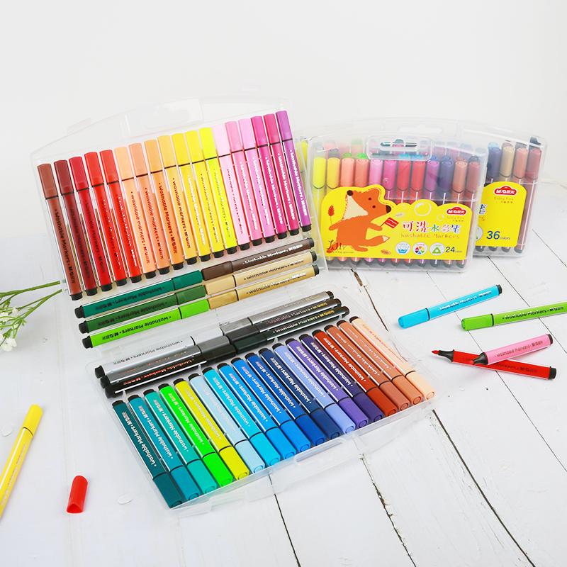 晨光文具大容量水彩笔涂鸦绘画儿童12/24/36/48色小狐希里可水洗水彩笔套装儿童幼儿园 ACPN0275