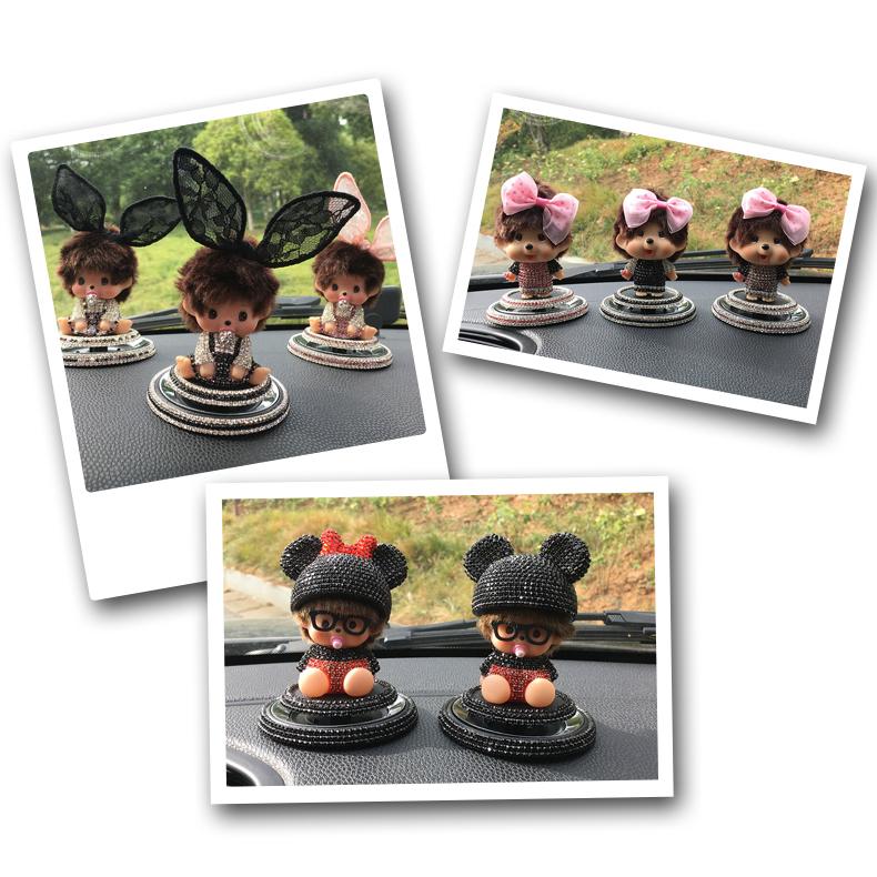 奶嘴娃娃蒙太萌奇奇创意汽车摆件可爱卡通车载香水座情侣款韩国