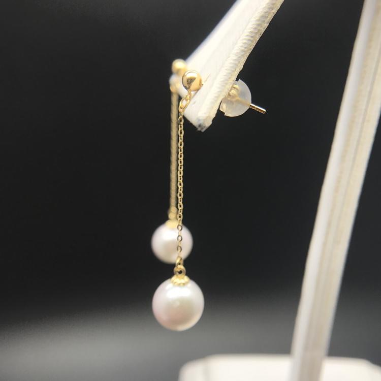 新品18K金波珠光珠珍珠耳线耳钉针配件空托蜜蜡琥珀碧玉