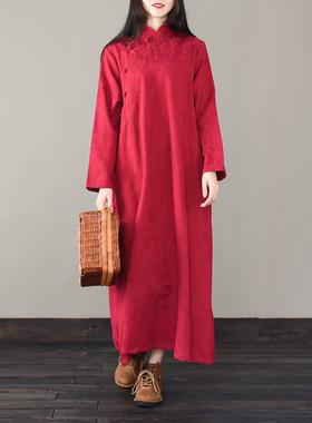 原创民族风女装复古提花禅意茶服袍子棉麻立领盘扣长裙大码连衣裙