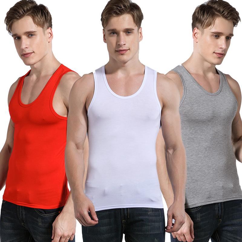 2 男士莫代尔背心修身型运动健身纯棉夏季潮男式跨栏打底汗衫 件装