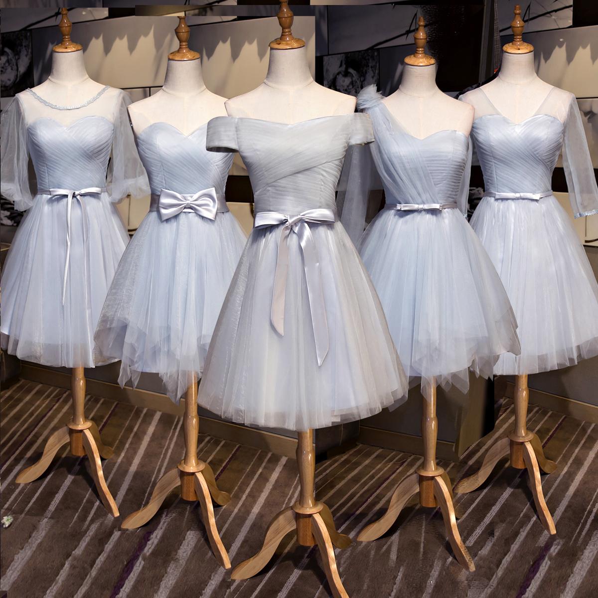 伴娘团姐妹裙2019新款一字肩显瘦短款同款伴娘服主持人年会礼服女