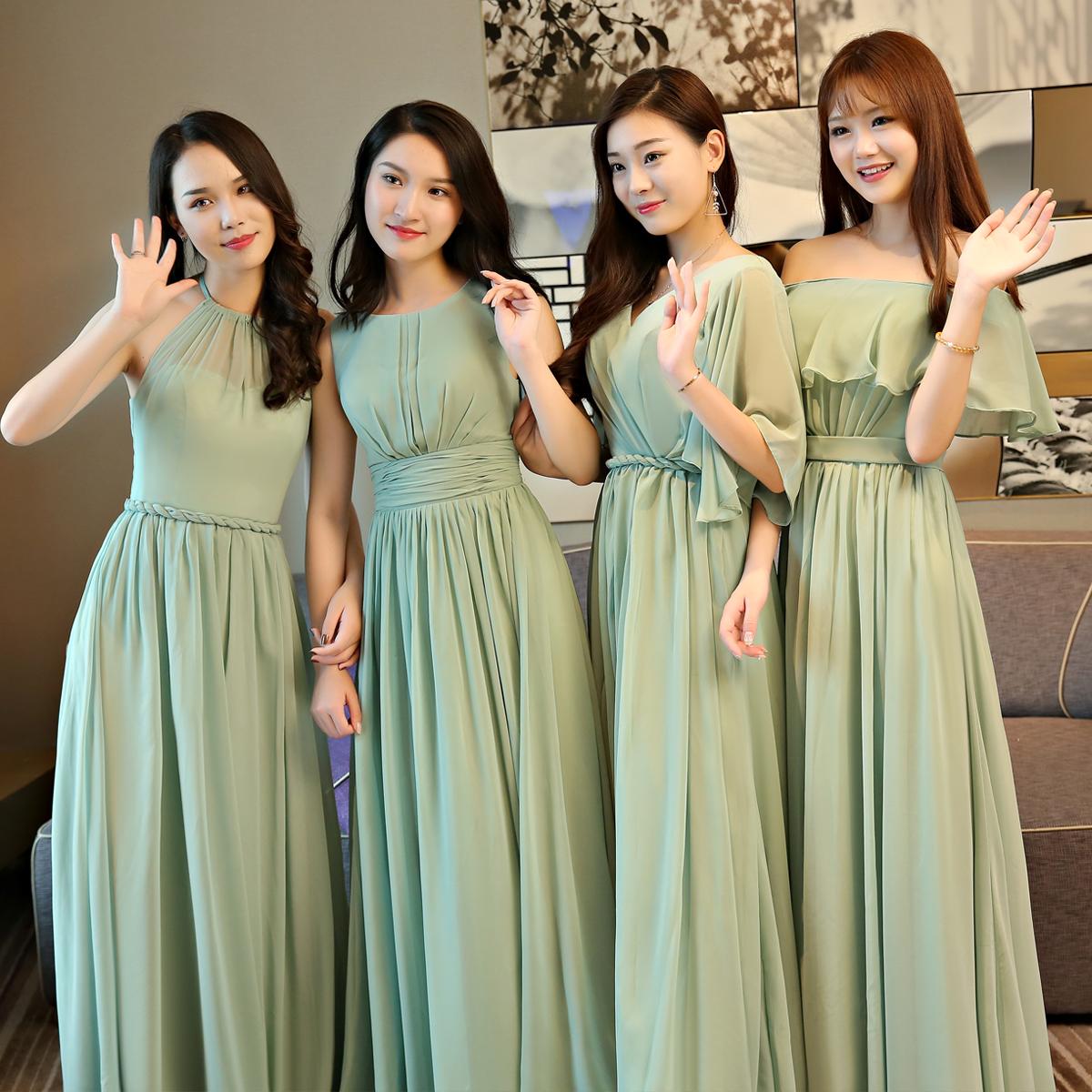 伴娘服姐妹团2019春夏新款森系长款显瘦一字肩年会主持人晚礼服女