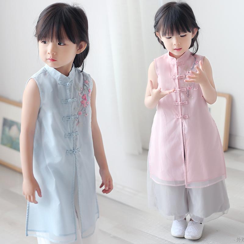 女童汉服夏季中国风改良襦裙儿童小女孩复古衣服女宝宝唐装套装