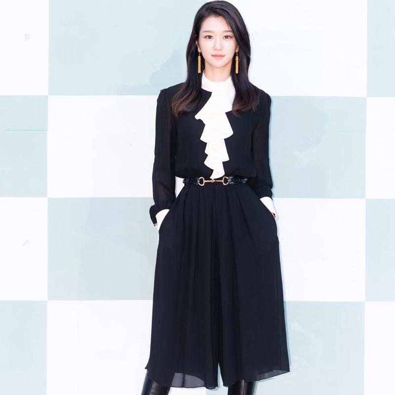 虽然是病精神但没关系徐睿知高文英同款连衣裙夏秋黑白拼色雪纺