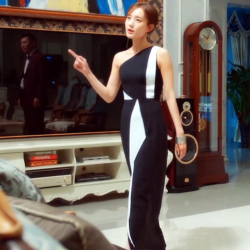爱我就别想太多李一桐夏可可同款夏季新黑白条纹拼接连衣裙礼服女