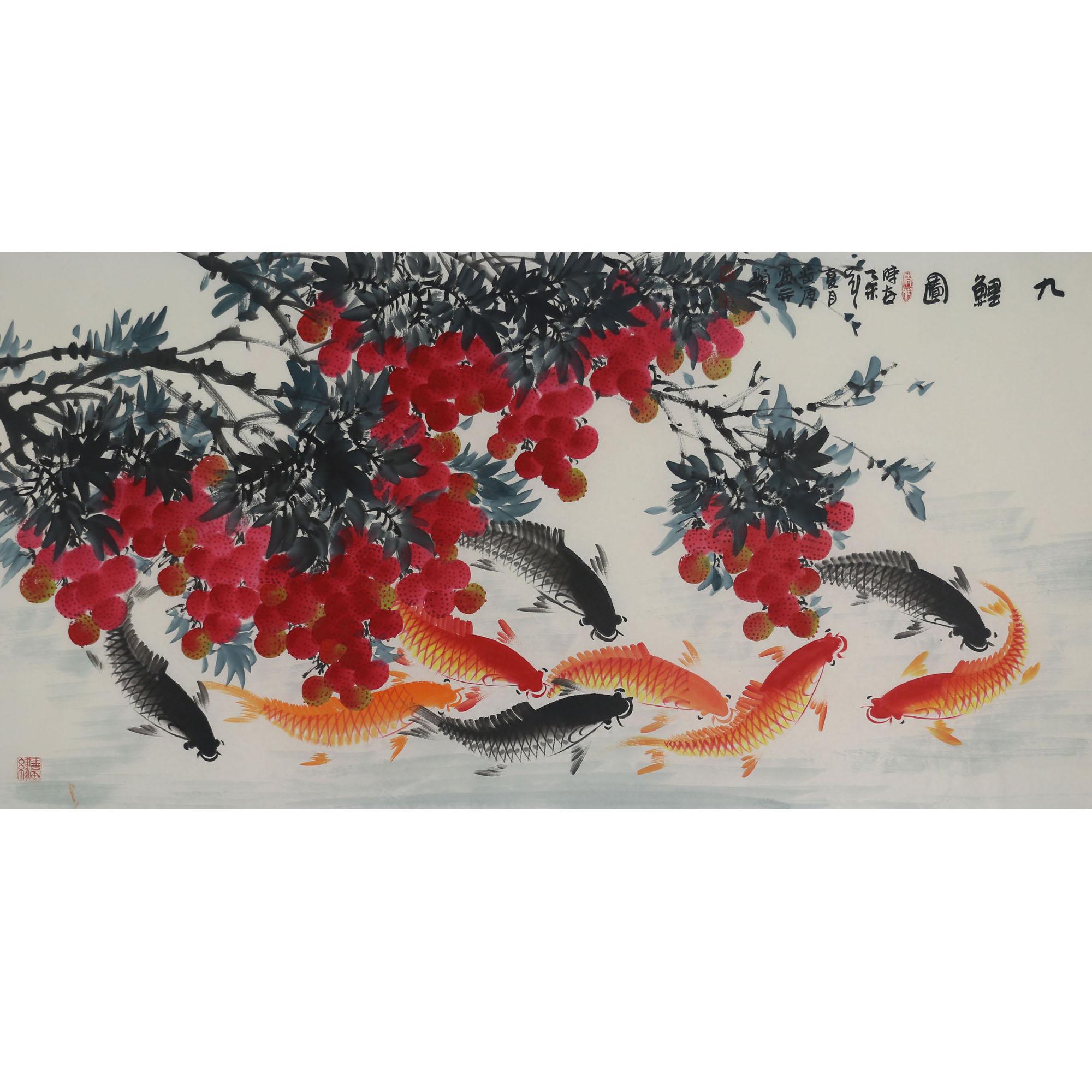 背景墻客廳中國風裝飾畫國畫書畫四尺橫幅九鯉魚手繪純手工花鳥畫