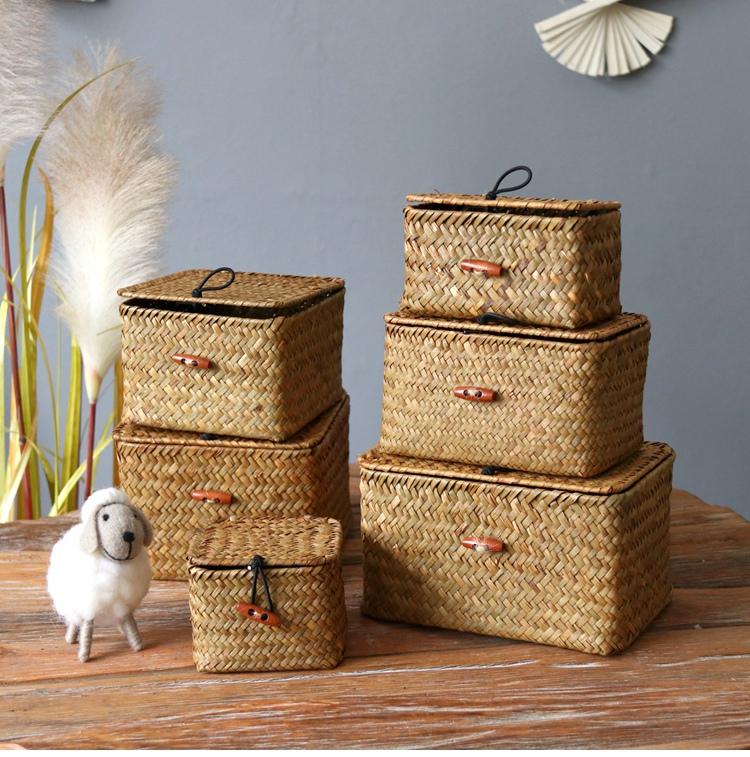 迷你收納盒 禮品盒 插花花盒 家居裝飾儲物盒擺設收納海草花籃