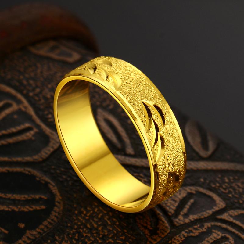 戒指男个姓简约镀 黄金戒指男士时尚饰品潮男戒指仿真沙金指环 24K