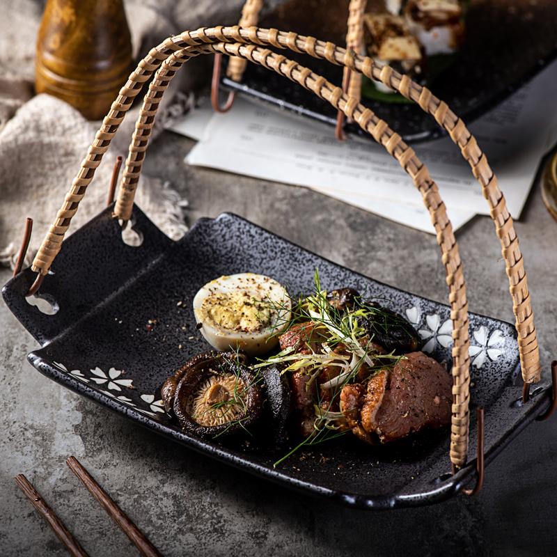 美光燒 日式陶瓷盤子碟子天婦羅盤子 創意手提盤吊盤水果盤蔬菜盤