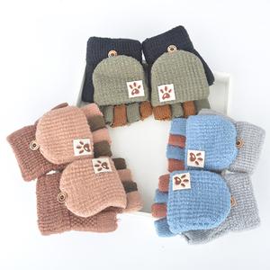 冬季儿童半指翻盖保暖五指可爱手套